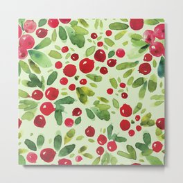 Watercolor Holly Pattern - Kitschy Christmas Holiday Print in Green and Red Metal Print
