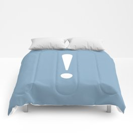 Exclamation point on placid blue color background Comforters