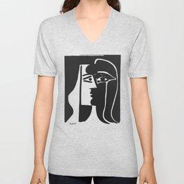 Pablo Picasso Kiss 1979 Artwork Reproduction For T Shirt, Framed Prints Unisex V-Neck