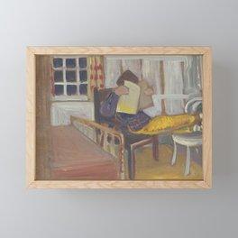 Estelle reading; ca. 1946, by Dorothy Messenger Framed Mini Art Print