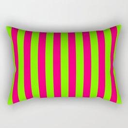 Super Bright Neon Pink and Green Vertical Beach Hut Stripes Rectangular Pillow