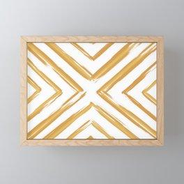 Minimalistic Gold Paint Brush Triangle Diamond Pattern Framed Mini Art Print
