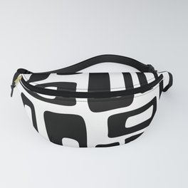 Retro Mid Century Modern Abstract Pattern 336 Black and White Fanny Pack