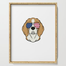 Patriotic America Beagle Dog Owner Gift Serving Tray