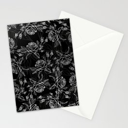 Elegant black faux silver vintage rose floral Stationery Cards