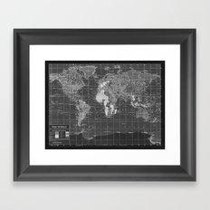 Black and White Vintage World Map Framed Art Print