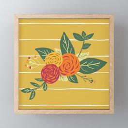Golden Flower Bouquets Framed Mini Art Print