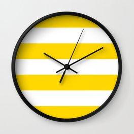 Sunshine Yellow and White Stripes Wall Clock