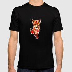 Cute Little Red Fox water colour ink Black Mens Fitted Tee MEDIUM