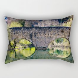 Beautiful Stone Bridge Over the Alzette River at the Bock Casemates Ruins in Luxembourg Rectangular Pillow