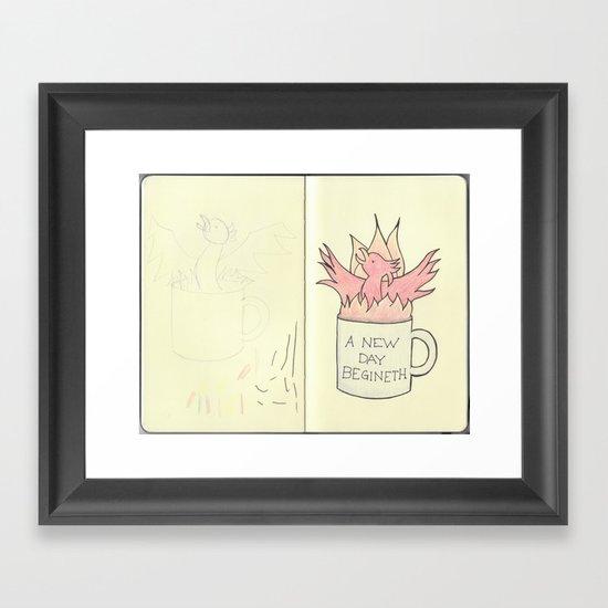 Coffee Phoenix Sketchbook Page Framed Art Print