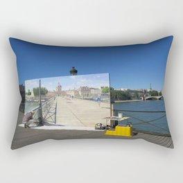 Painter On The Boardwalk (Seine, France) Rectangular Pillow