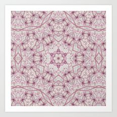 Vintage Raspberry Pink and Paris Gray Earth Mandala with Hearts Art Print