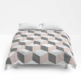 Geometric, Marble, Blush Pink, Gray and White, Square, Cubed, Abstract Comforters