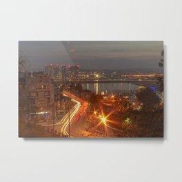 Night view on Sava river, Belgrade, Serbia Metal Print