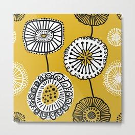 Folksy Floral in Yellow Metal Print