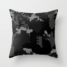 Black and Gray Abstract Throw Pillow