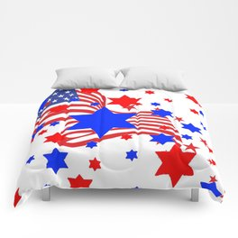 PATRIOTIC JULY 4TH AMERICAN FLAG ART Comforters