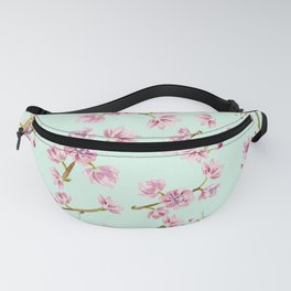 Spring Flowers - Mint and Pink Cherry Blossom Pattern Fanny Pack