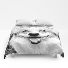 Spock the happy corgi Comforters