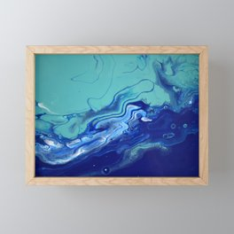 Blue Fluid Art Macro Navy Turquoise Framed Mini Art Print