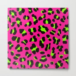 80s Neon Pink and Lime Green Leopard Metal Print