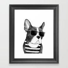 Frenchie Summer Style b&w Framed Art Print