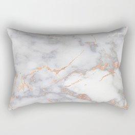 Gray Marble Rosegold  Glitter Pink Metallic Foil Style Rectangular Pillow