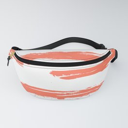 Brushed Stripe Deep Coral on White Fanny Pack