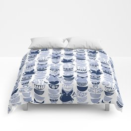 Swedish folk cats III // white background pale and navy blue kitties & bowls Comforters