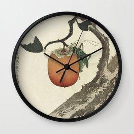 Kakivrucht Met Sprinkhaan by Katsushika Hokusai Wall Clock