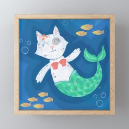 Mermaid Cat Framed Mini Art Print