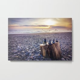Stacked Rocks at Sunset Metal Print