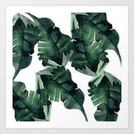 Banana Leaves Pattern Green Art Print