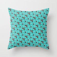Teal Midcentury pattern Throw Pillow