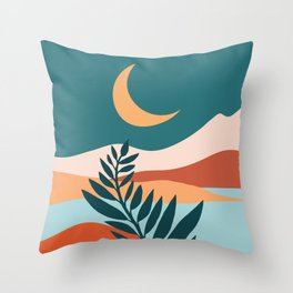 Moonlit Mediterranean / Maximal Mountain Landscape Throw Pillow