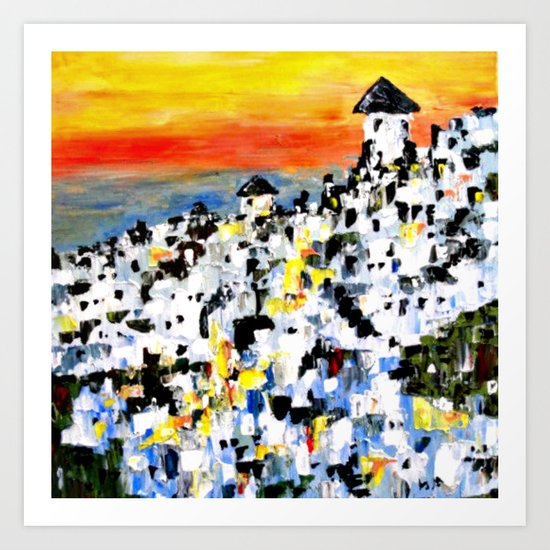 Abstract Santorini, Greece Landscape Art Print