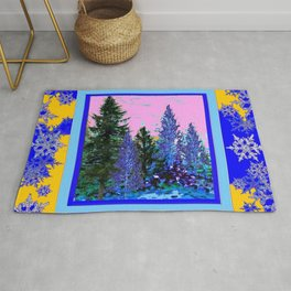 YELLOW-BLUE WINTER SNOWFLAKES  FOREST TREE  ART Rug