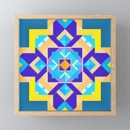 Geometric Tribal Mandala Inspired Modern Trendy Vibrant (Blue, Cobalt, Yellow, Orange, Purple) Framed Mini Art Print
