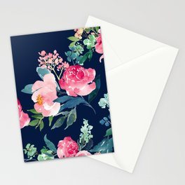 Navy and Pink Watercolor Peony Stationery Cards