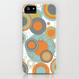 Retro Mid Century Modern Circles Geometric Bubbles Pattern iPhone Case