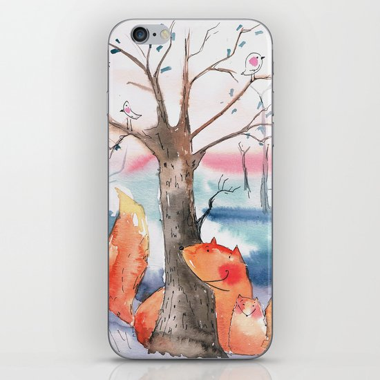 Spring foxes iPhone & iPod Skin