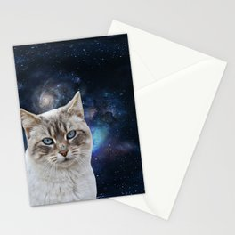 white kitty in space Stationery Cards
