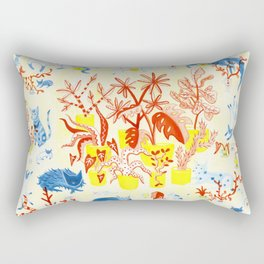 Cats Hanging Out with Plants Rectangular Pillow