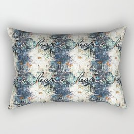 Happy Love Heart Family Pattern Blue Pastel Abstract Rectangular Pillow