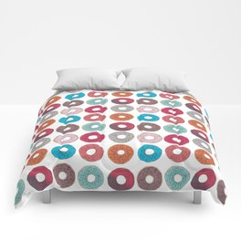 Colourful, illustrated, glazed, sprinkle Donut pattern Comforters
