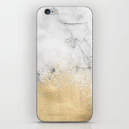 Gold Dust on Marble iPhone Skin