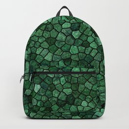 Jade Green Cobbled Patchwork Terrazo Pattern Backpack