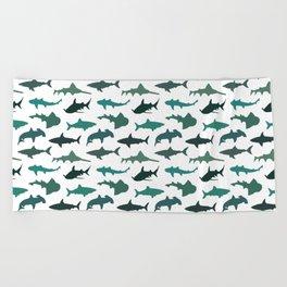 Green Sharks Beach Towel