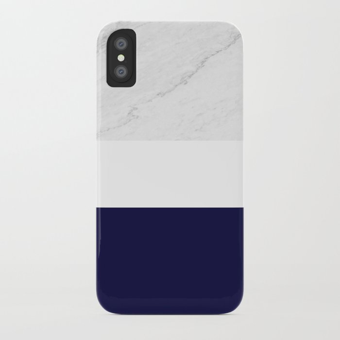 Marble White Royal Blue iPhone Case